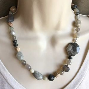 Aluma Stones Pearls Sterling Silver 925 Necklace